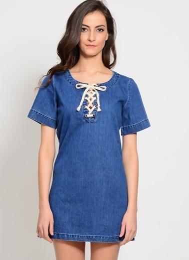 Glamorous Mini Denim Elbise Mavi